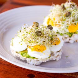 Avocado and Egg on Rice Cake Toasts {Gluten-Free, Dairy-Free}