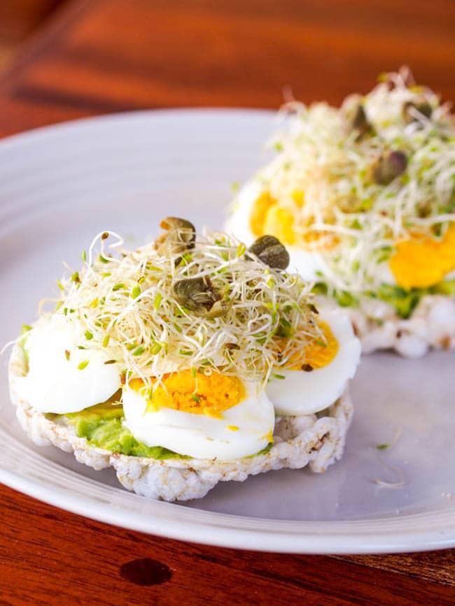 Avocado and Egg on Rice Cake Toasts