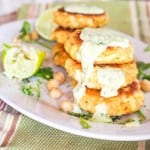 Super soft and delicious salmon cakes with hearts of palm and chickpeas. A perfect gluten free and dairy free lunch. Serve with a home made Cilantro Lime Aioli