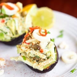 Vegan Avocado Boats with Quinoa Hearts of Palm Salad {GF}