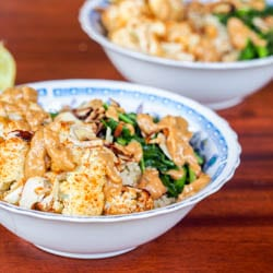 Vegan Quinoa Cauliflower Arugula Bowls with Thai Peanut Sauce {GF}
