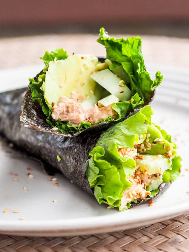 This Asian Tuna wrap is a simplified version of the classic Japanese tuna hand roll, except it's ready within minutes and made with canned tuna, cucumber and avocado. Have lunch on the table in minutes.