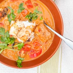 This Caribbean Fish Curry recipe is a one pot meal ready in 30 minutes that is a creamy blend of coconut milk, tomatoes, curry spices and tender red snapper. Both Gluten Free and Dairy Free.