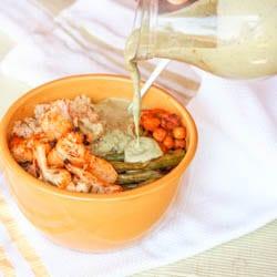 Vegan Quinoa Roasted Veggie Buddha Bowls with Creamy Pesto Tahini Sauce {GF}