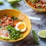 Warm up with this comforting gluten-free chicken ramen soup with eggs, bean sprouts, snap peas, noodles, cilantro and lime juice. The ultimate comfort food. Dairy Free too. Skip the take out and make this ramen soup at home instead. |avocadopesto.com