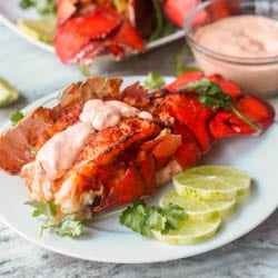 Paprika Broiled Lobster Tail with Sriracha Aioli {Gluten-Free, Dairy-Free}