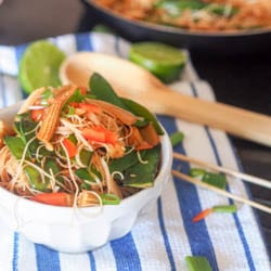 Vegan Asian Stir Fry Baby Corn and Bamboo Shoots Noodles {Gluten-Free}