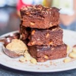 6 ingredient healthy high protein vegan fudge brownies make for the perfect guilt free dessert. Packed with 11 grams of protein per serving and both gluten-free and refined sugar free! Dessert couldn't get any better than this!