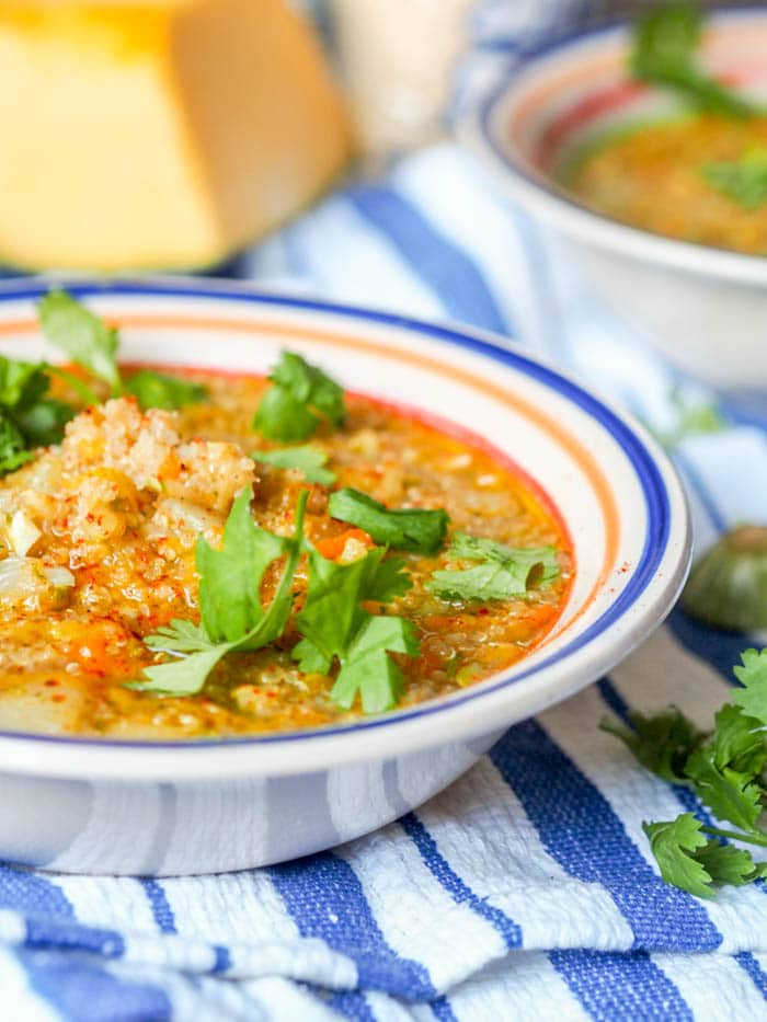 This 30 minute 8 ingredient vegan country squash quinoa soup is the ultimate comforting feel good soup. Filled with grated squash, zucchini and carrots, this makes for a healthy feel good meal.    avocadopesto.com