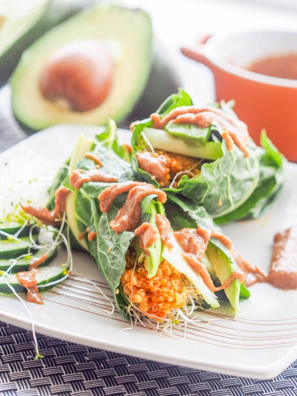 Curried quinoa pumpkin vegan collard wraps with veggies come together in minutes and make for the perfect light, healthy and detox friendly meal. You'll feel the energy coming back to you with these low carb, high protein wraps. Perfect for lunch or a snack. Drizzled with a tahini lime sauce. Gluten Free too! 15 g of protein per serving.   avocadopesto.com