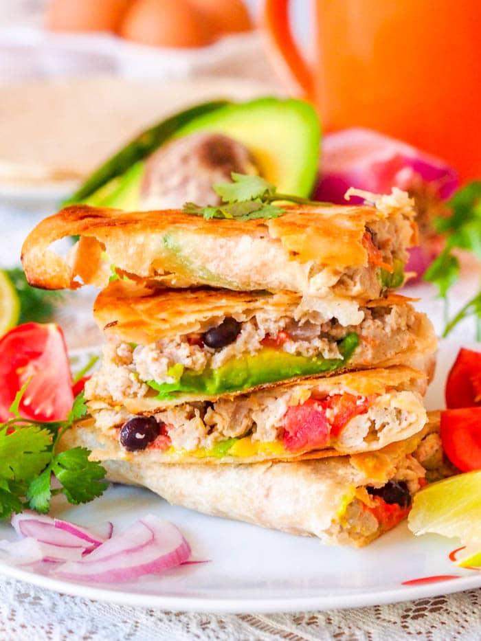 Vegetarian Breakfast Scrambled Egg Quesadillas {GF, DF}
