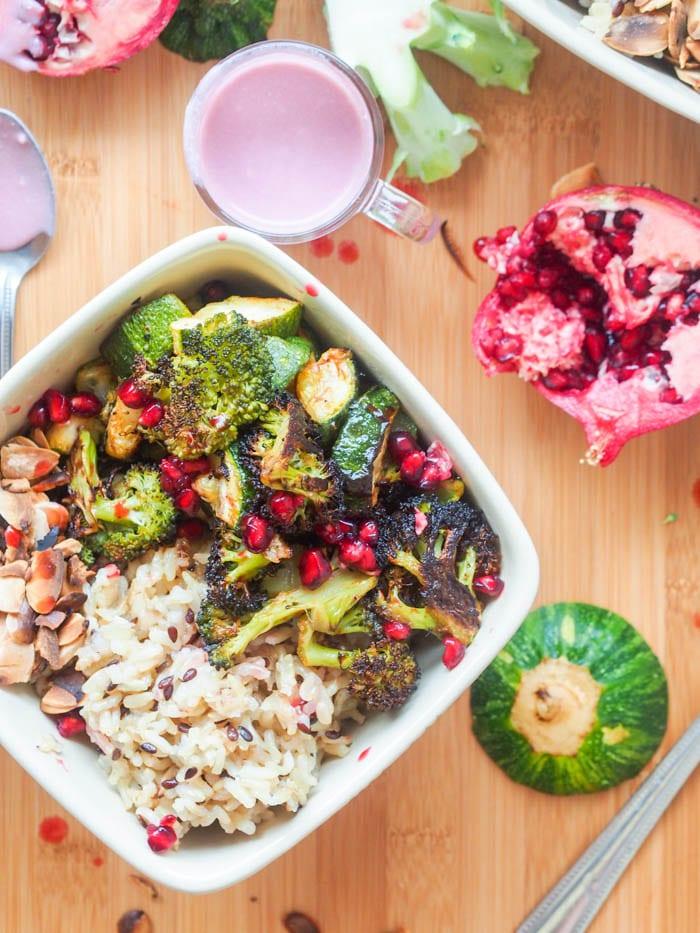 Vegan Wild Rice Green Bowls with Pomegranate Sauce {GF}