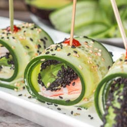 The ultimate low carb, healthy and refreshing summer appetizer or light meal: Asian cucumber rolls with shrimp, avocado and wasabi aioli. Gluten Free + Dairy Free. | avocadopesto.com