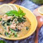 This eight ingredient vegan orzo kale white bean soup with pesto comes together in 30 minutes and is hearty enough for a full meal. Perfect for cooler fall nights. Gluten Free. | avocadopesto.com