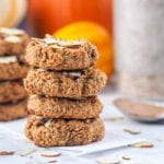 Hearty and healthy pumpkin cookies make for a perfect on the go breakfast. Made with pumpkin puree, maple syrup, almond butter, protein powder, almond flour and fall spices. These high protein cookies make for a guilt free vegan, gluten free and refined sugar treat. | avocadopesto.com