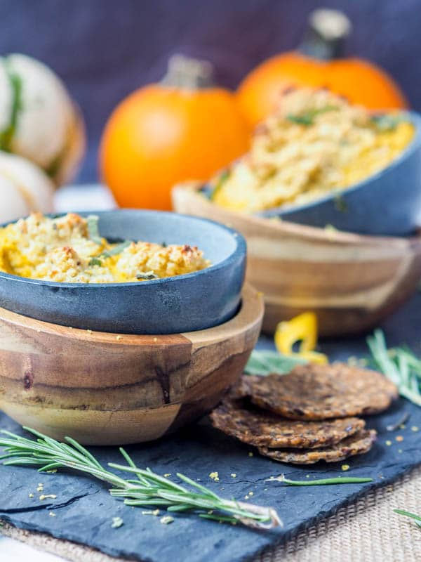 A classic fall themed savory appetizer - gluten-free, paleo and vegan pumpkin dip with rosemary cashew ricotta. Serve hot with crackers or bread for the ultimate decadent start to a meal. | avocadopesto.com