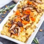 Creamy Polenta with Shiitakes Roasted Squash and Pumpkin Seeds