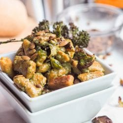 Vegan Pesto Pumpkin Gnocchi with Oven Roasted Broccoli and Brussels Sprouts {GF}