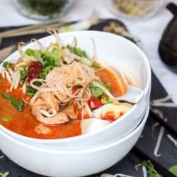 Laksa Soup with Shrimp, Chicken and Sugar Snap Peas {GF, DF}
