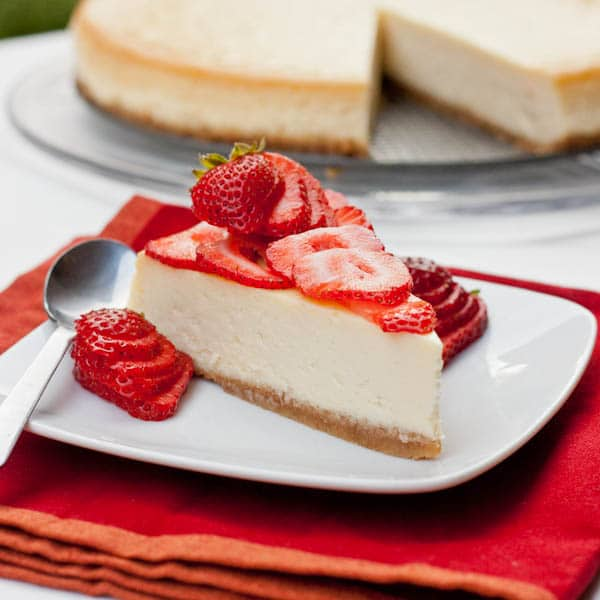 Slice of New York Cheesecake with strawberries