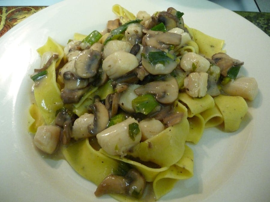 pasta with scallops and mushrooms