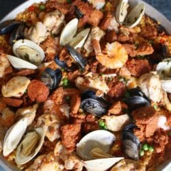 Mixed Paella with Chicken, Chorizo, Shrimp and Clams