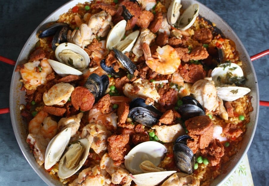 Mixed Paella With Chicken Chorizo Shrimp And Clams