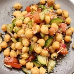 Chickpea and Onion Salad with Tomatoes Cucumbers Herbs