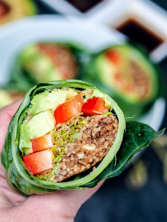 Raw vegan recipes collard wraps gluten free paleo raw collard wraps raw vegan recipes forumfinder Gallery