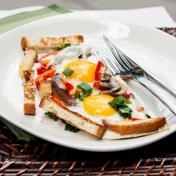 Sunny Side Up Eggs with Mushrooms,