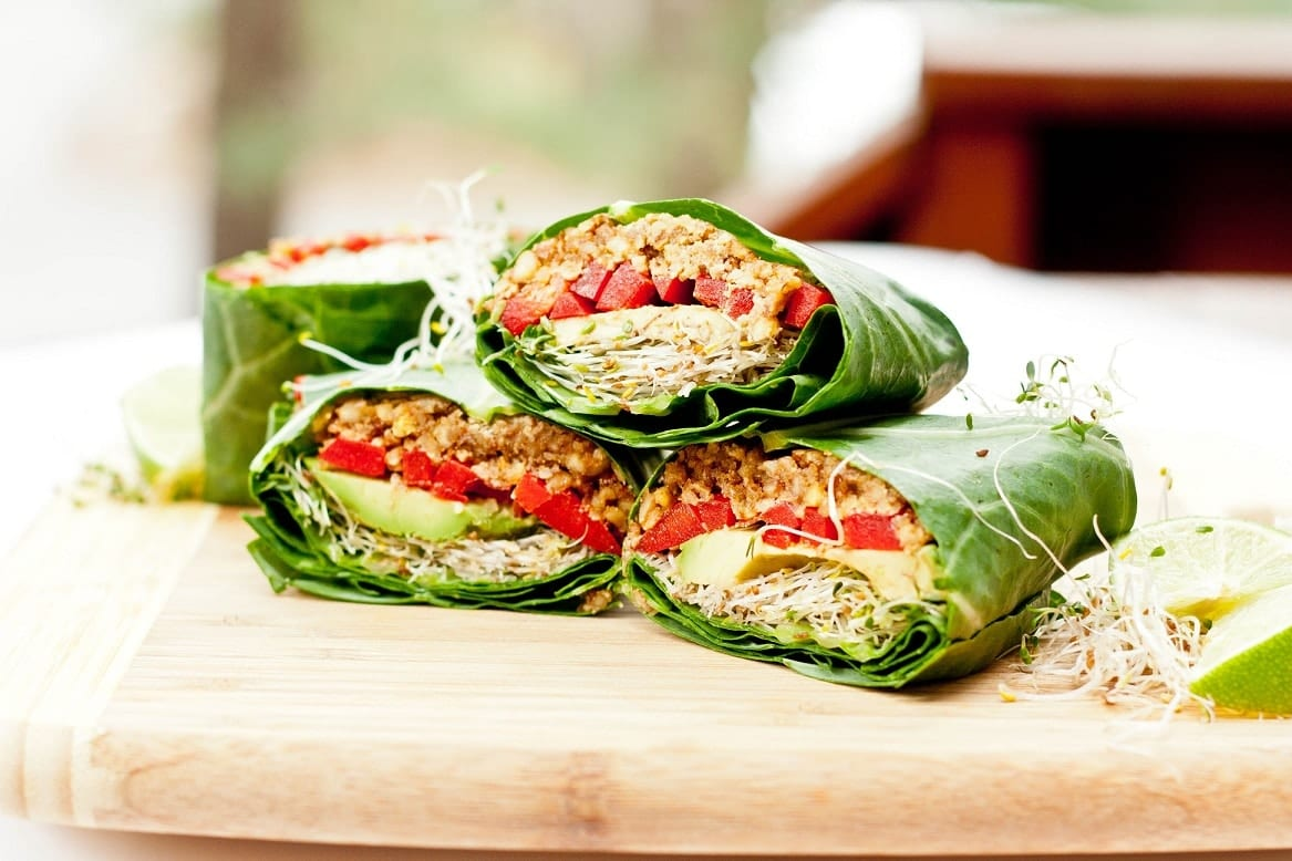 Raw Vegan Recipe using Collard Wraps