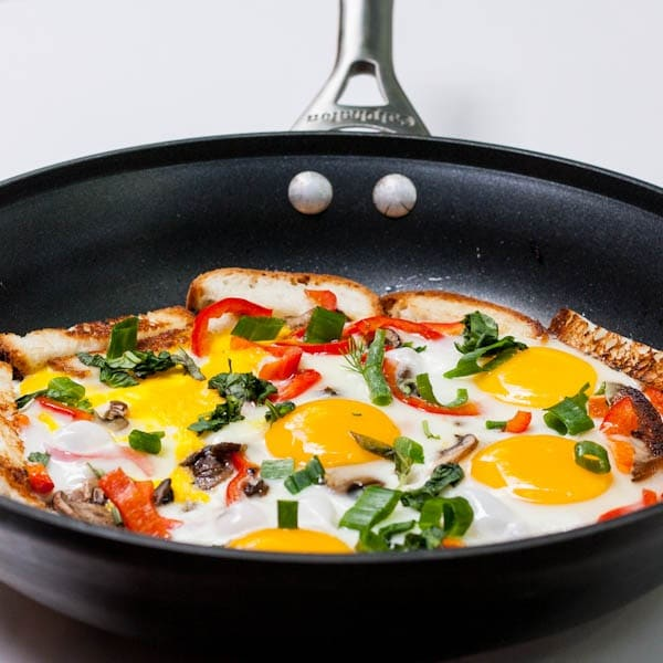 Sunny Side Up Eggs with Mushrooms and Onions and Tomatoes