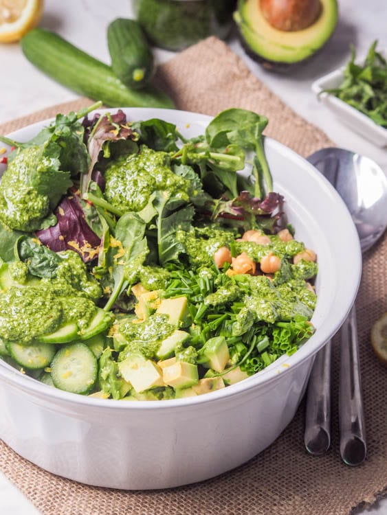 Avocado Chickpea Salad topped with vegan pesto dressing