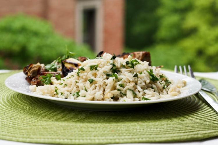 Parsley Almond Rice Pilaf Recipe plated
