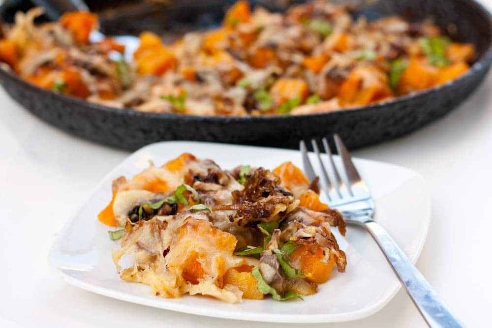 Butternut Squash and Mushrooms Gratin with Gruyere Cheese