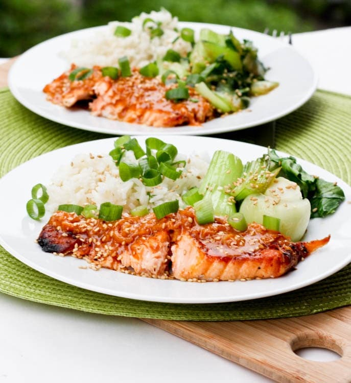 broiled salmon coconut red curry served over rice