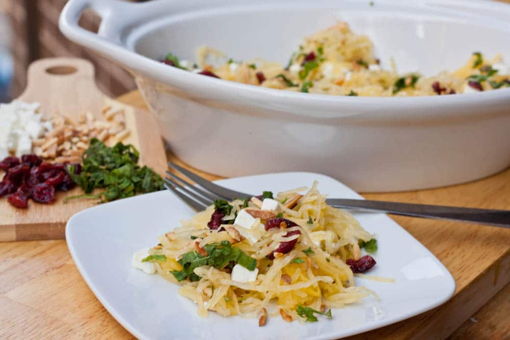 Spaghetti Squash with Almonds, Feta and Cranberries