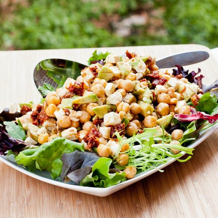 chickpea feta salad with avocados and sun-dried tomatoes