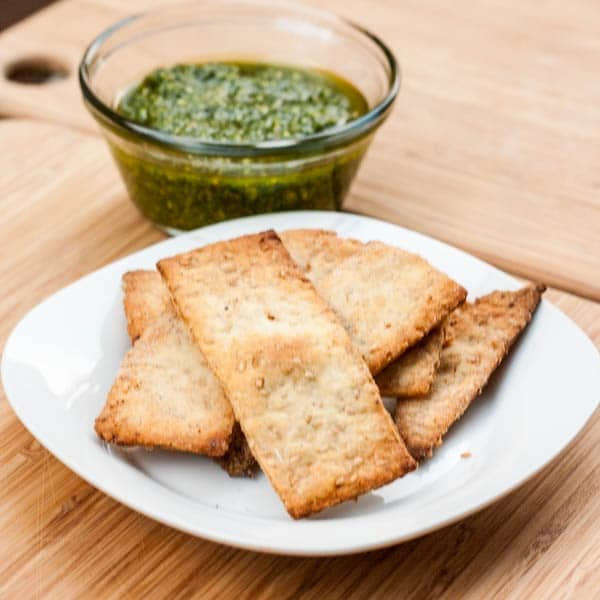 sesame crackers served with pesto