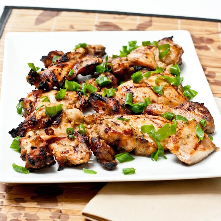 grilled chicken thighs with Asian chicken marinade