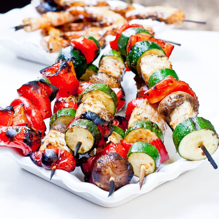 swordfish kebabs with zucchini red pepper and mushrooms