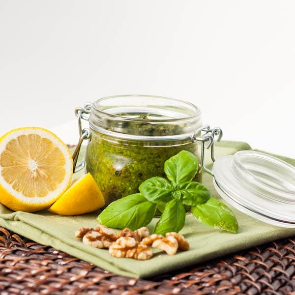 Vegan Spinach Basil Pesto in a jar