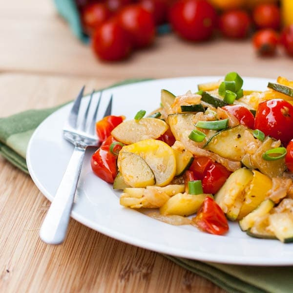 sauteed zucchini with cherry tomatoes and green onions