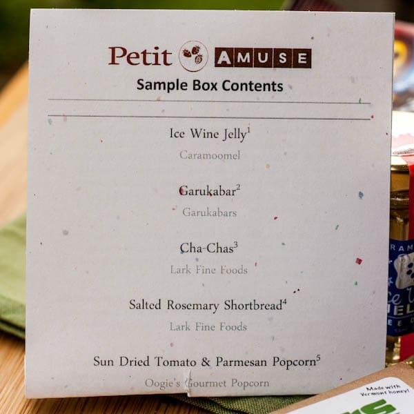 Petit Amuse Sample Box Contents