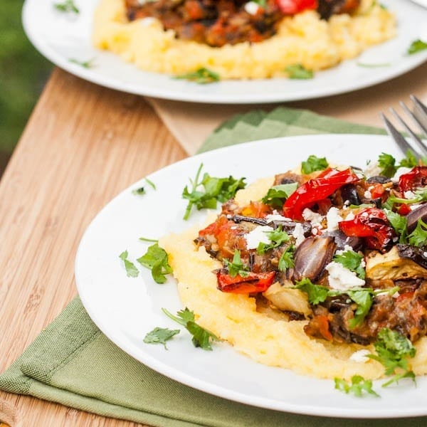 Polenta with Oven Roasted Vegetables and Feta