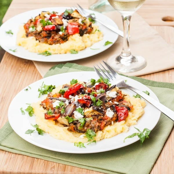 Polenta with Roasted Vegetables and Feta {GF, Vegan}