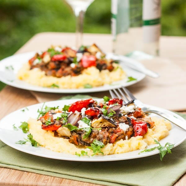 Polenta with Roasted Vegetables and Feta