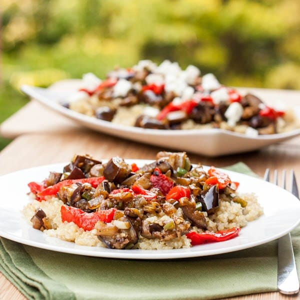 Quinoa with Eggplant and Roasted Red Peppers