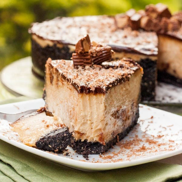 a slice of reese's peanut butter cheesecake
