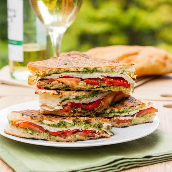 Turkey pesto panini with roasted red pepper